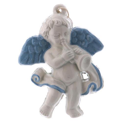 Angel with trumpet 10 cm in terracotta made in Deruta 1