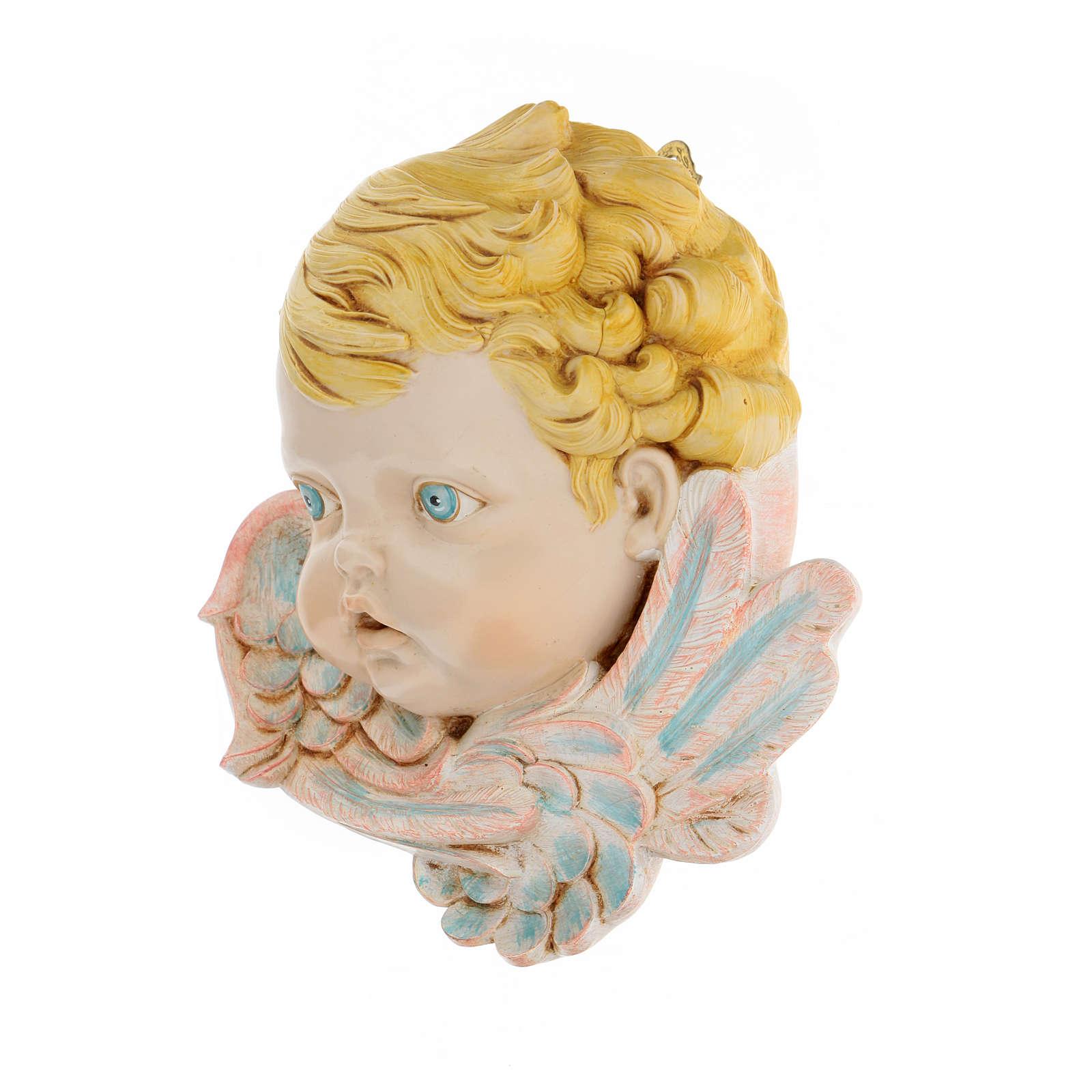 Cabeza de ángel con pelo rubio 19 cm Fontanini 3