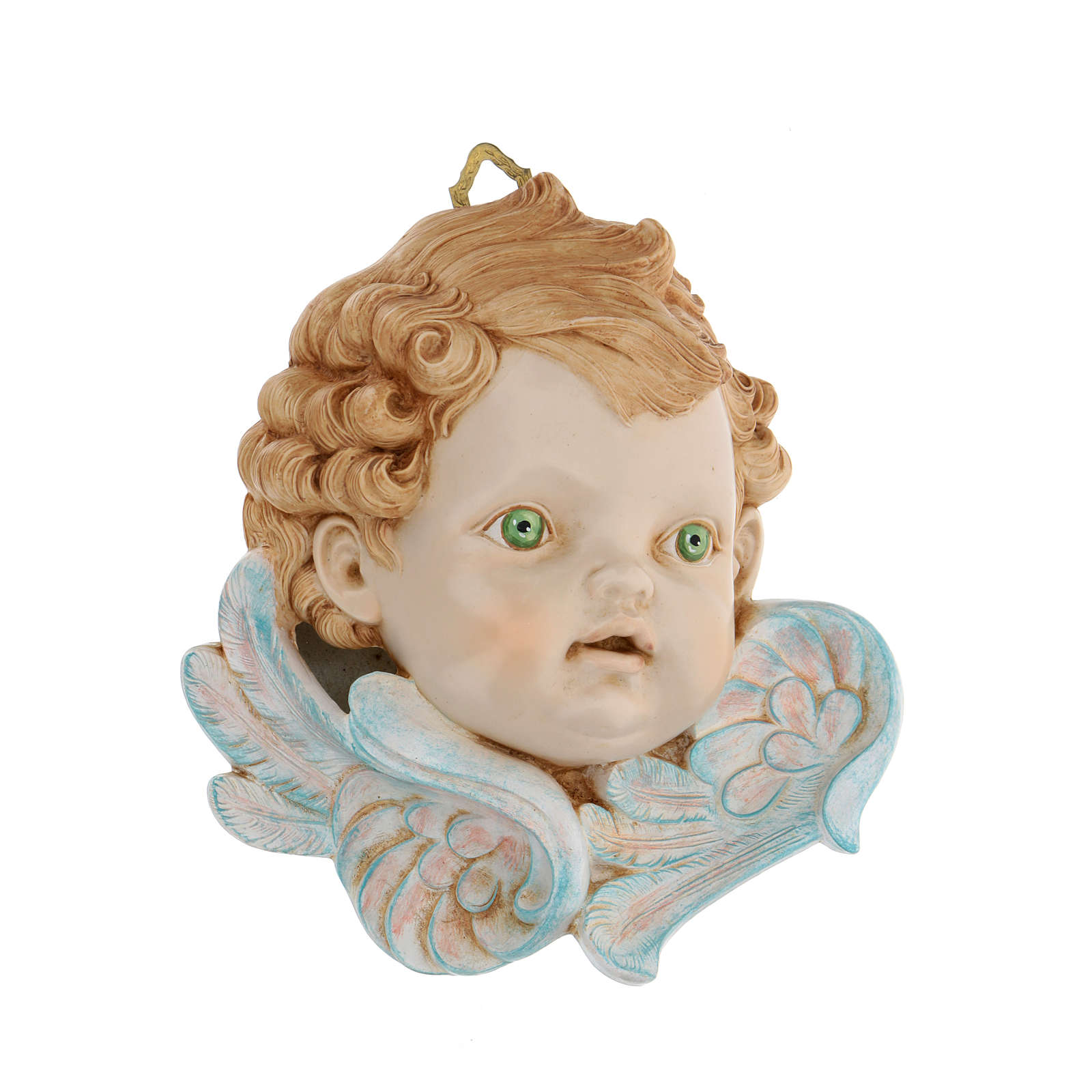 Cabeza de ángel ojos verdes 19 cm Fontanini 3