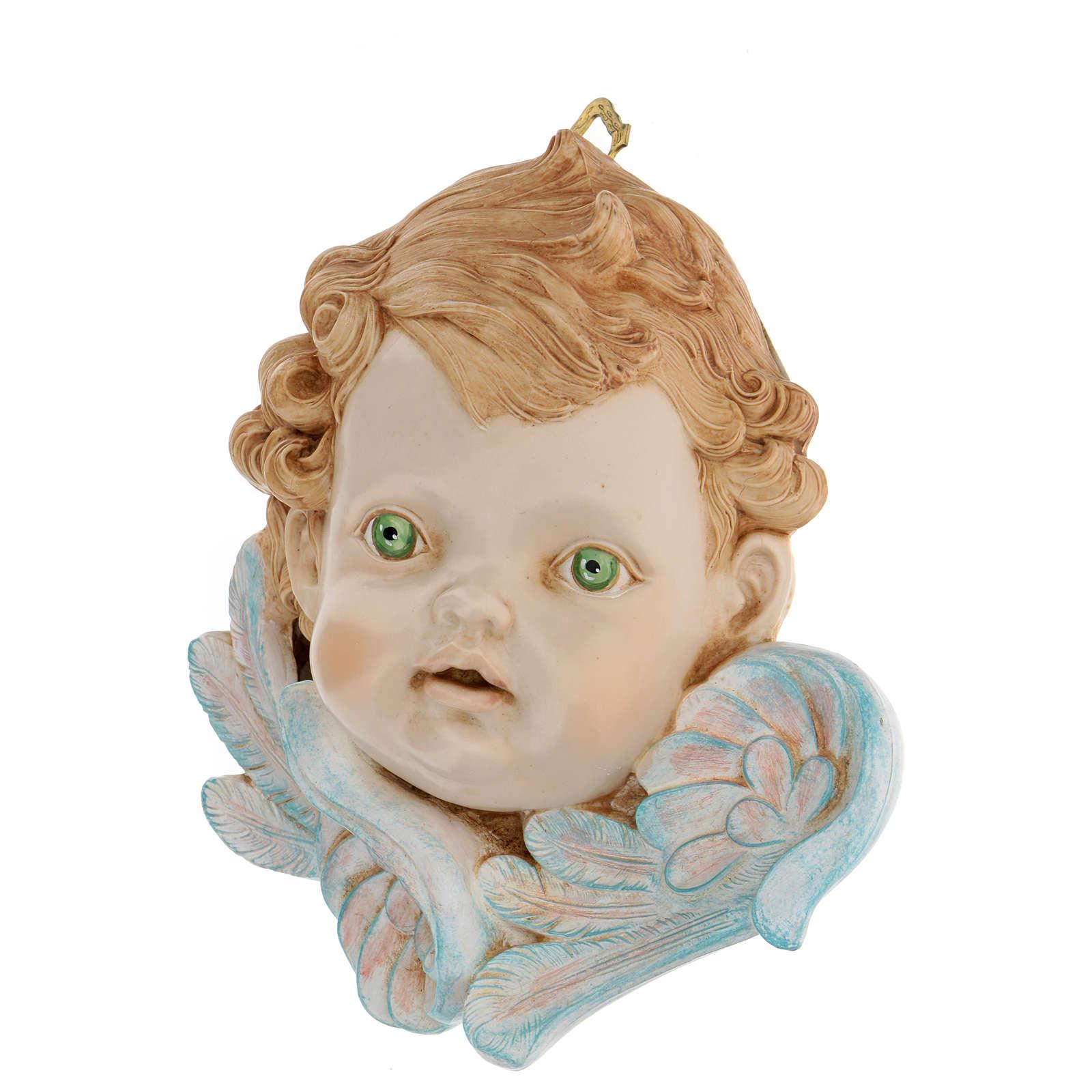 Testa di angelo occhi verdi 19 cm Fontanini 3