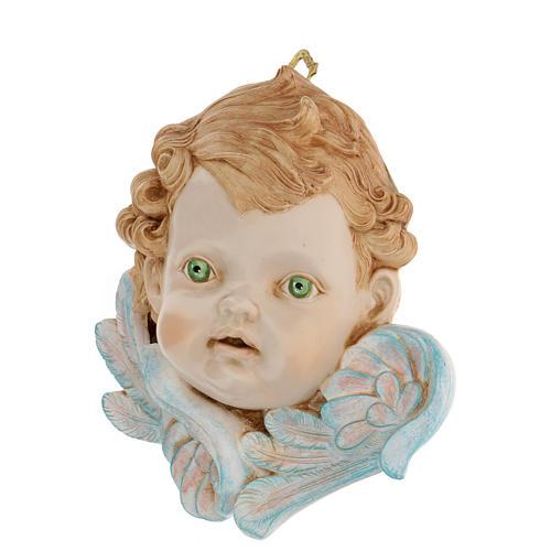 Testa di angelo occhi verdi 19 cm Fontanini 2