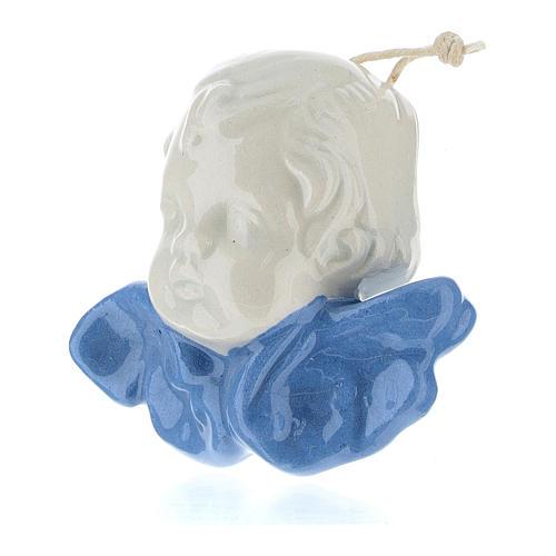 Angelo con ali colore celeste 5 cm terracotta Deruta 2