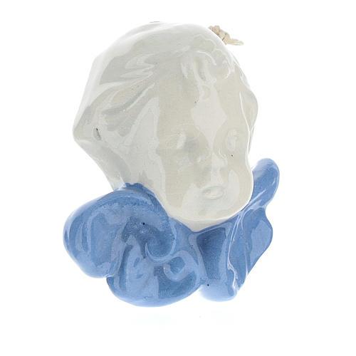Angelo con ali colore celeste 5 cm terracotta Deruta 3