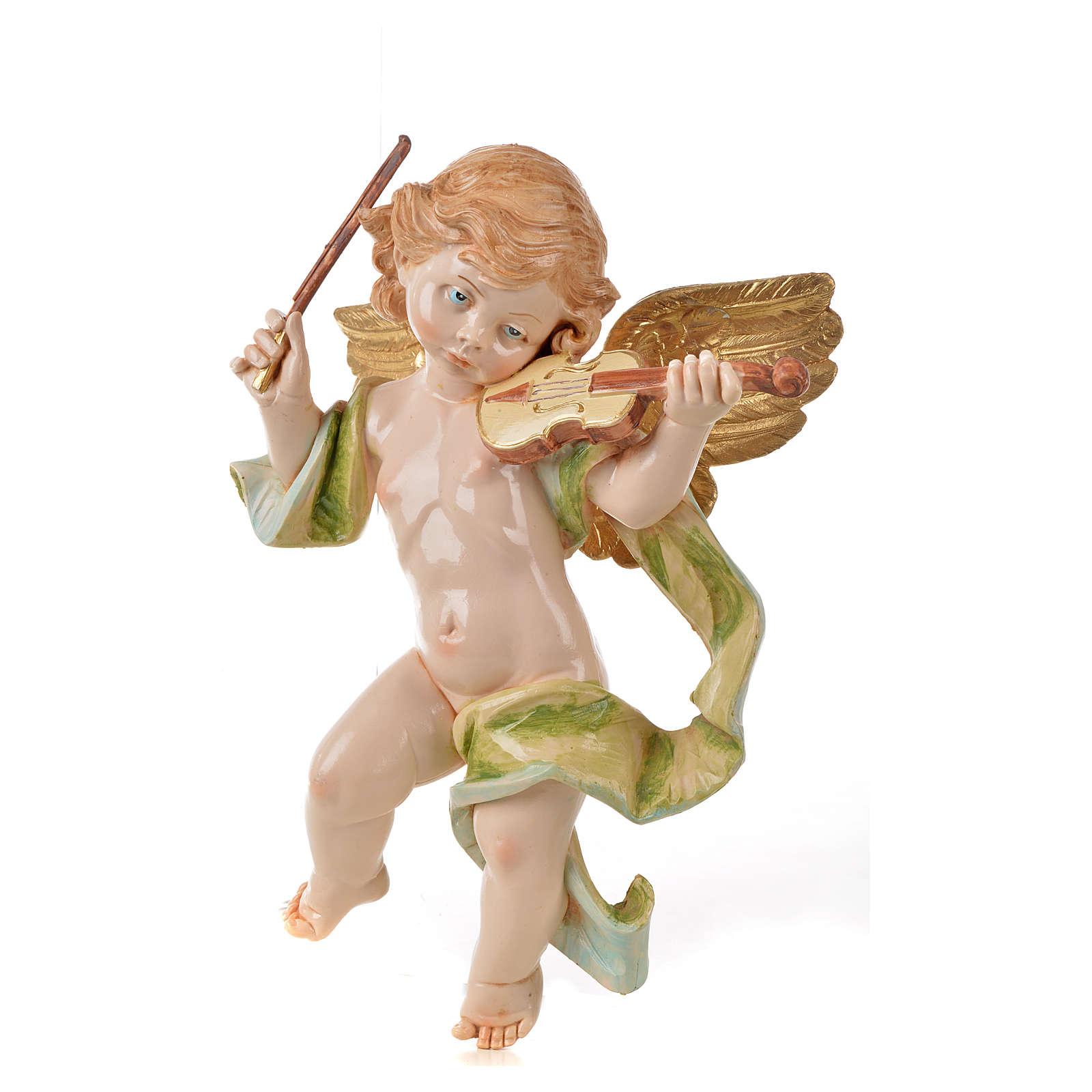 Ángel con violín Fontanini cm. 27 símil porcelana 3