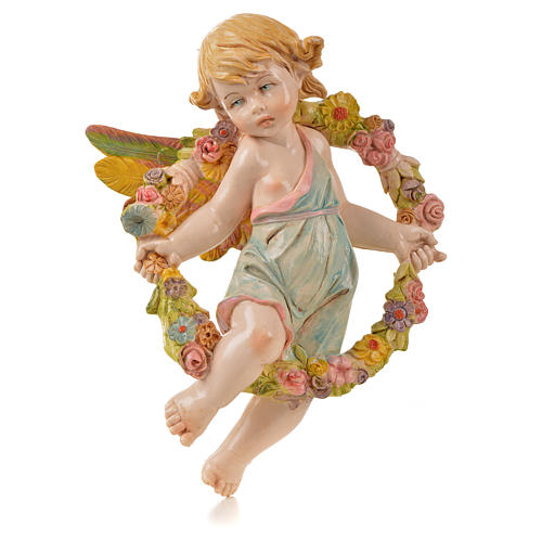 Ángel de la primavera con flores Fontanini símil porcelana para belén de altura media 17 cm 1
