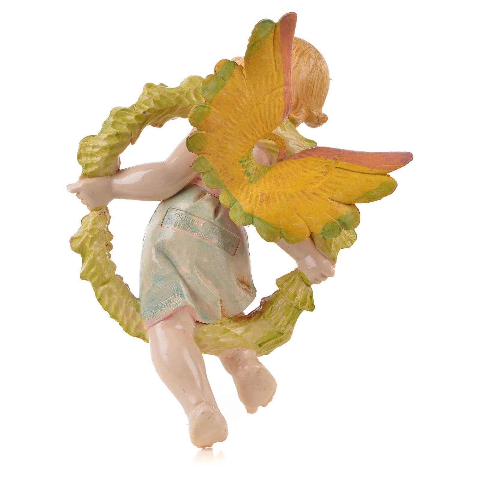 Angelo della Primavera con fiori Fontanini tipo porcellana per presepe da 17 cm 3