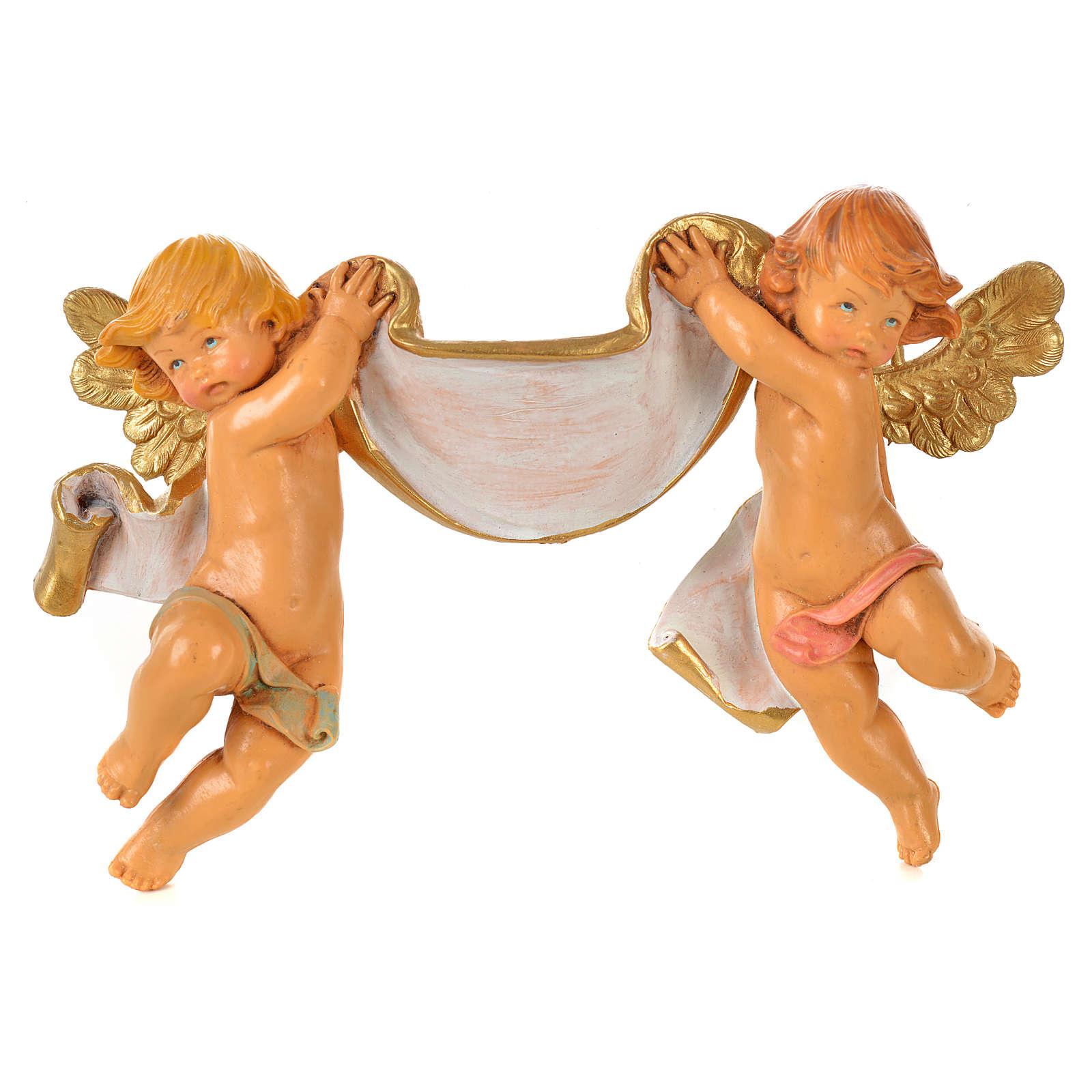 Par de ángeles con pergamino Fontanini cm. 9 x 15 3