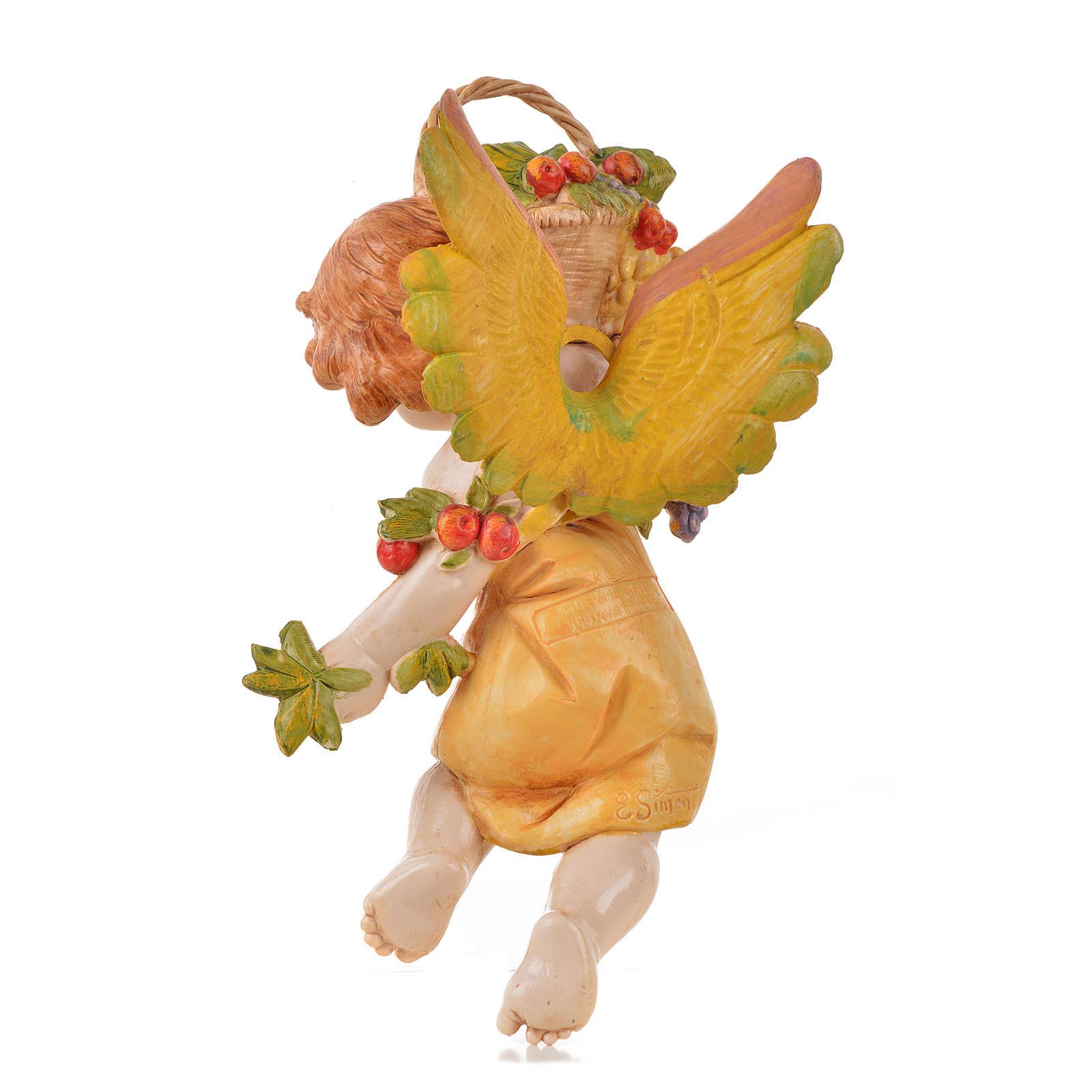Ángel del otoño con uva Fontanini cm. 17 símil porcelana 3