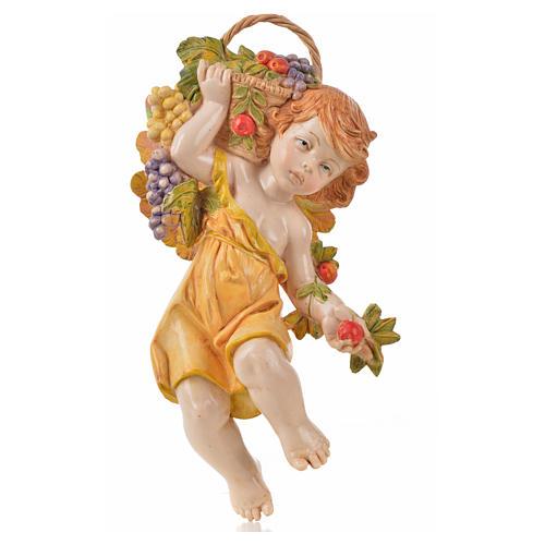 Ángel del otoño con uva Fontanini cm. 17 símil porcelana 1