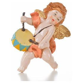 Ange rose avec tambour 7 cm Fontanini type porcelaine s1