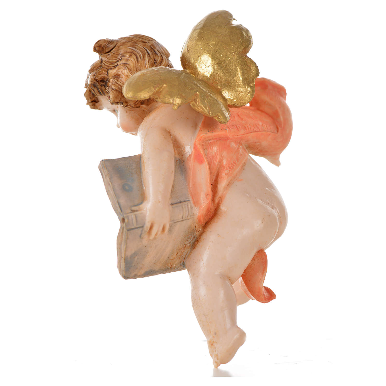 Angelo con libro rosa Fontanini 7cm tipo porcellana 3
