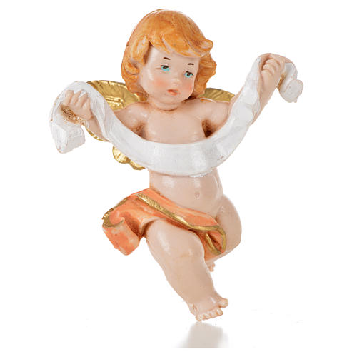 Ángel con paño rosado Fontanini 7 cm. símil porcelana 1