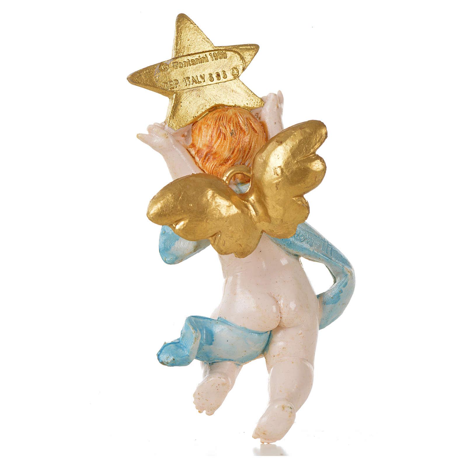 Angelo con stella blu Fontanini 7cm tipo porcellana 3