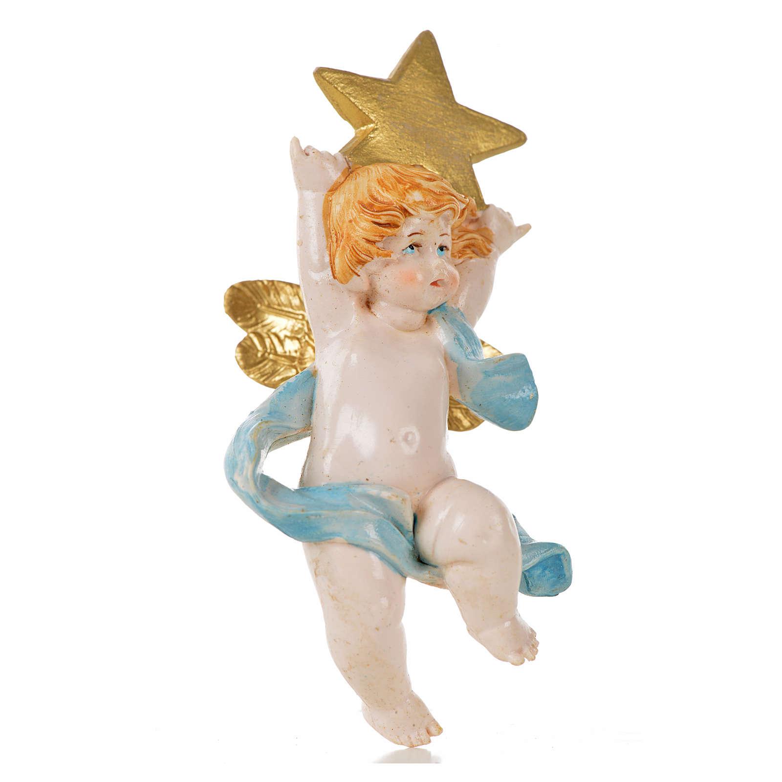 Anjo com estrela azul Fontanini 7 cm efeito porcelana 3