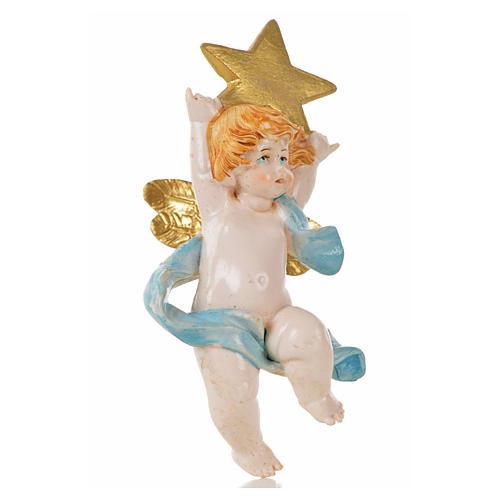 Anjo com estrela azul Fontanini 7 cm efeito porcelana 1