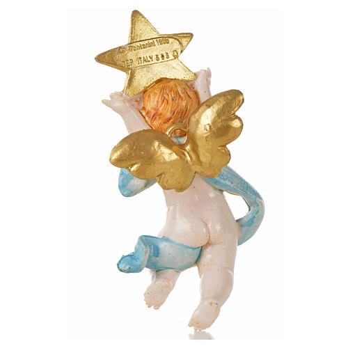 Anjo com estrela azul Fontanini 7 cm efeito porcelana 2