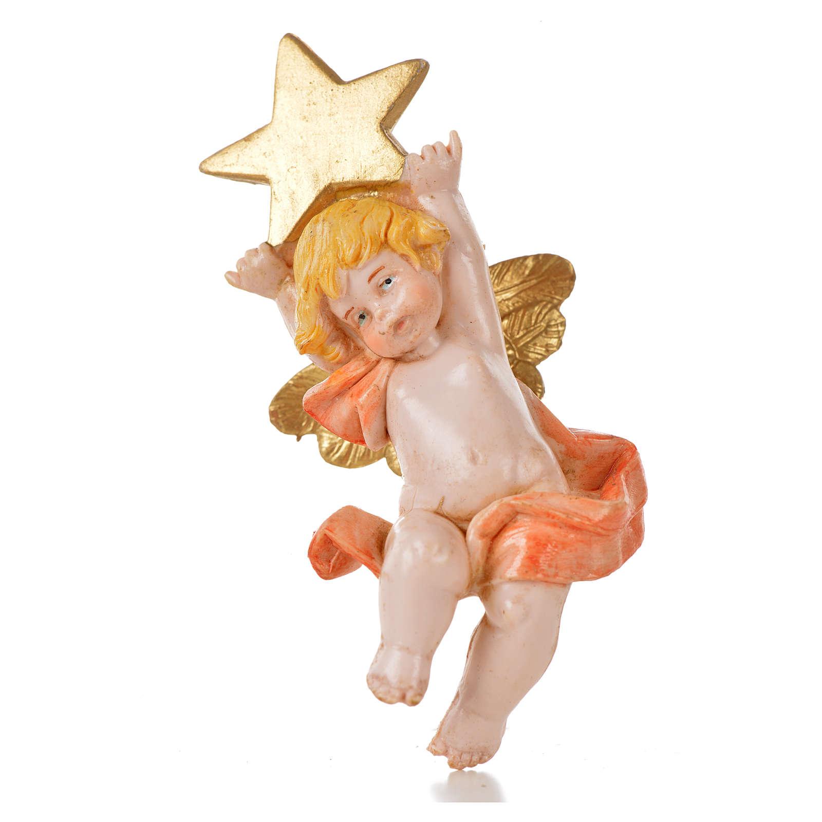 Angelo con stella rosa Fontanini 7cm tipo porcellana 3
