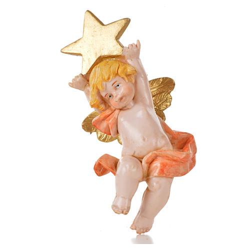 Angelo con stella rosa Fontanini 7cm tipo porcellana 1