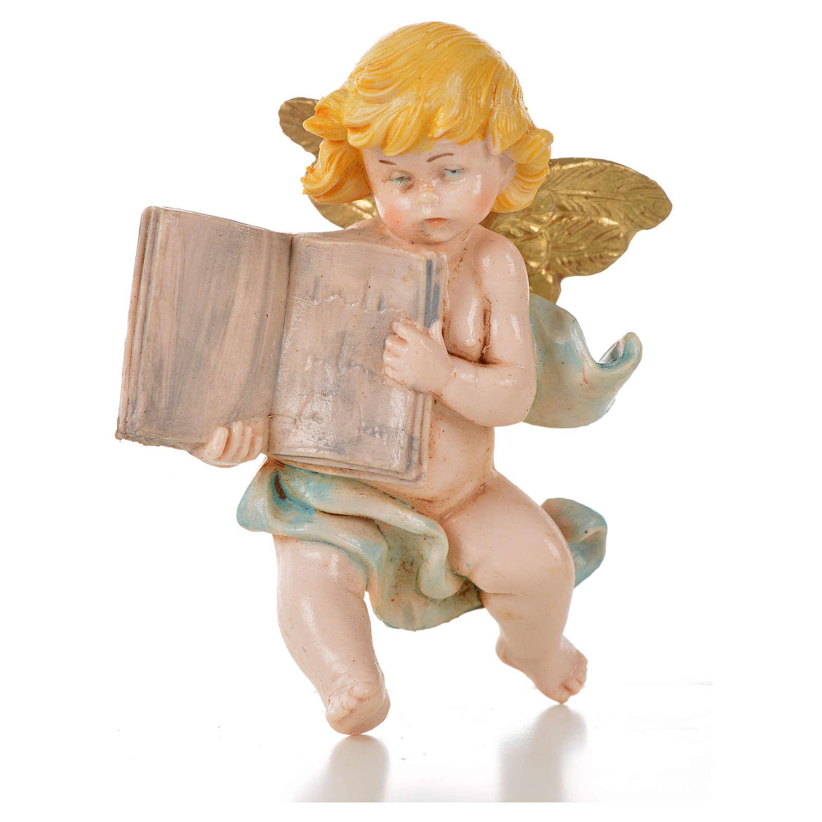 Angelo con libro blu Fontanini 7cm tipo porcellana 3