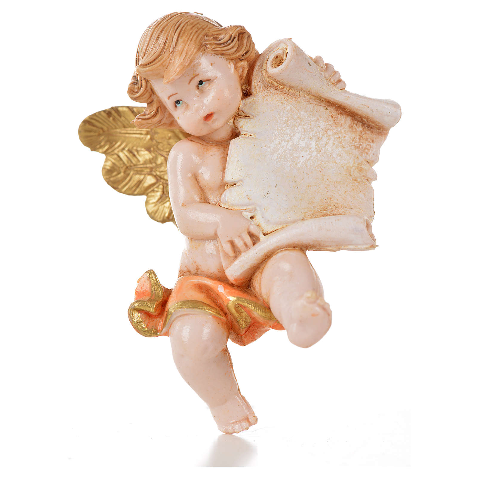 Angelo con pergamena rosa Fontanini 7cm tipo porcellana 3