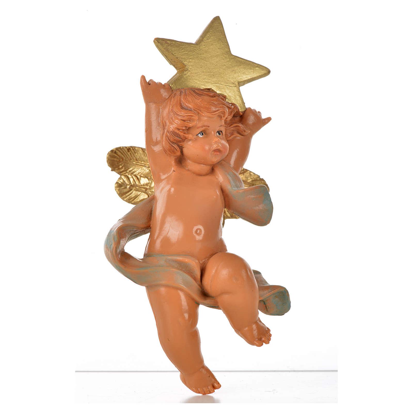 Angelo con stella blu Fontanini 7cm 3