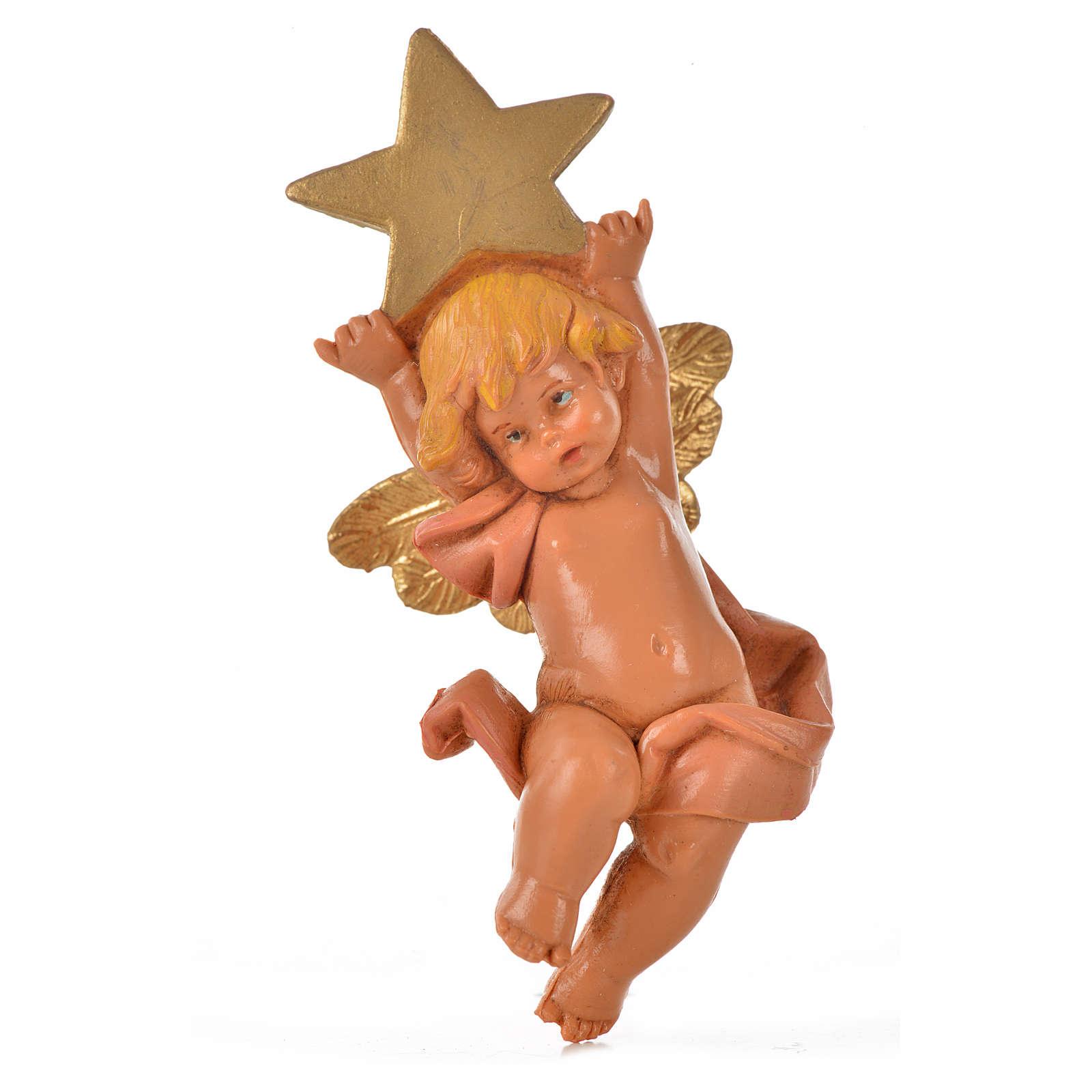 Angelo con stella rosa Fontanini 7cm 3