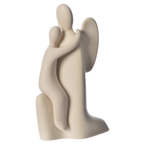 Ange gardien agenouillé grès cérame h 22cm ivoire 1