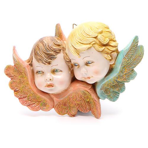 STOCK Couple têtes anges à suspendre Fontanini 14 cm 1