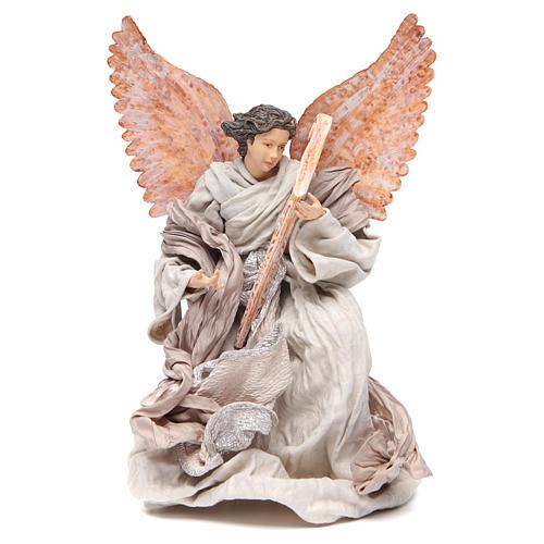 Angel 40 cm in resin kneeling with harp 1