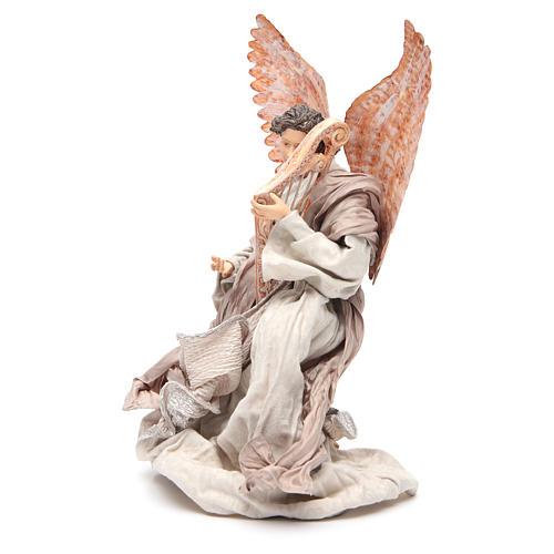 Angel 40 cm in resin kneeling with harp 2