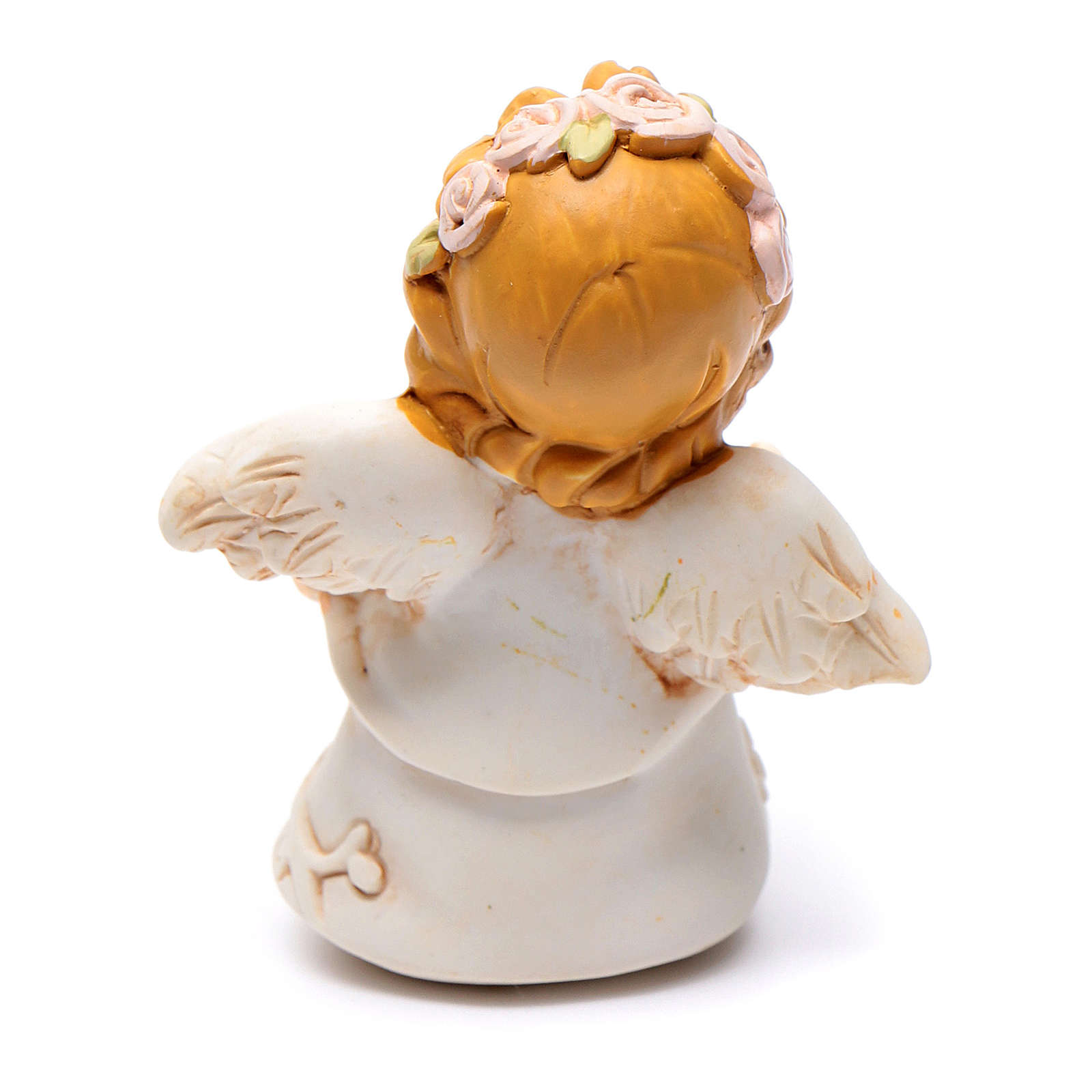 Resin angel figurine with orange flower and glitter 6 cm 3