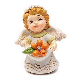 Resin angel figurine with orange flower and glitter 6 cm s1