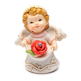 Resin angel with red rose and glitter 6 cm s1