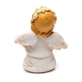 Angel in resin with yellow glitter flower 6 cm s2