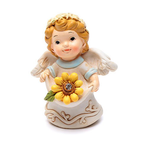 Angel in resin with yellow glitter flower 6 cm 1