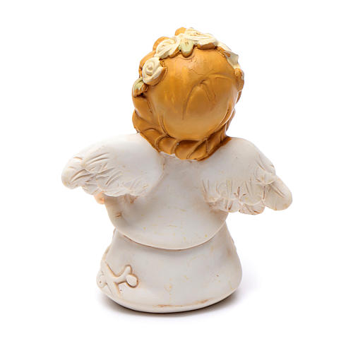 Angel in resin with yellow glitter flower 6 cm 2