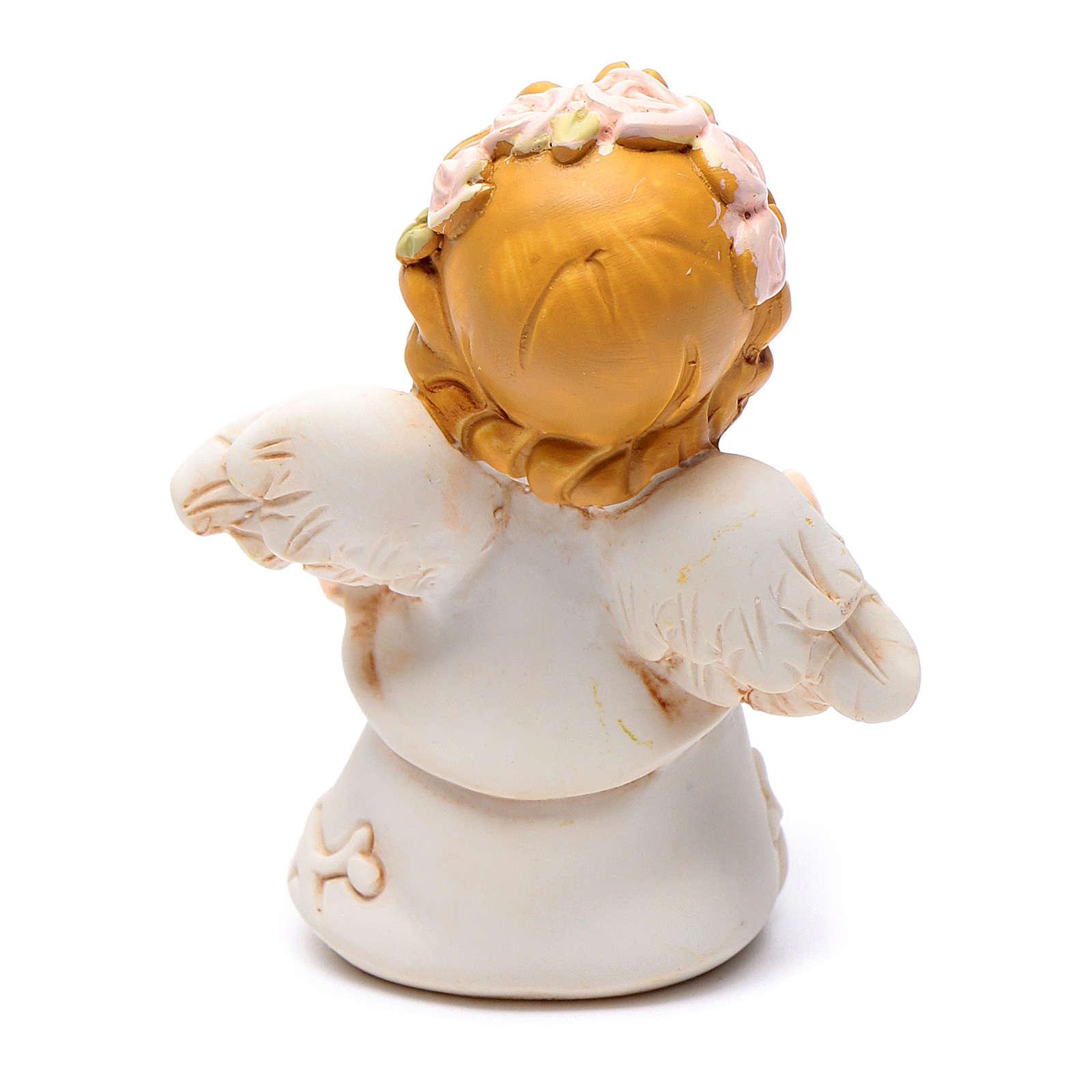 Angioletto resina quadrifoglio con brillantino 6 cm 3