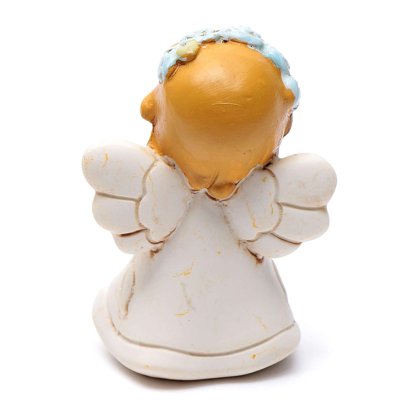 Angioletto che prega in resina 6 cm azzurro 3