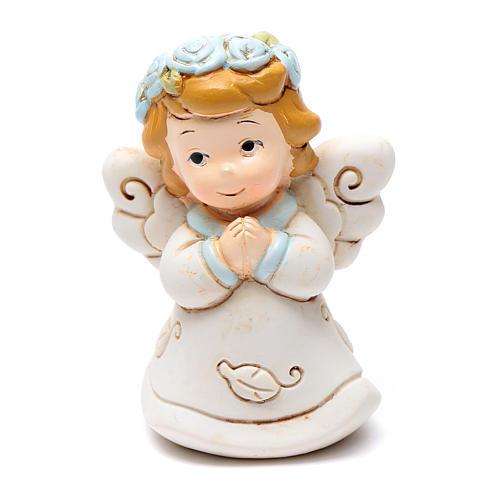Angioletto che prega in resina 6 cm azzurro 1