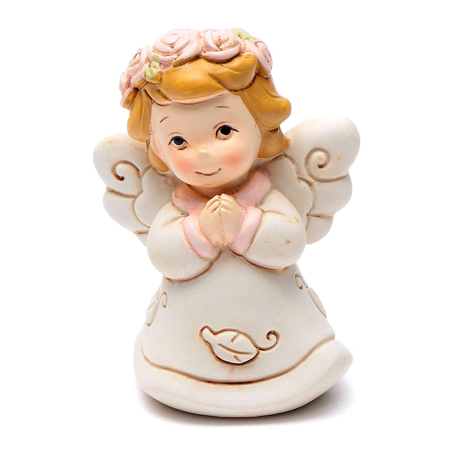 Angel praying pink in resin 6 cm 3