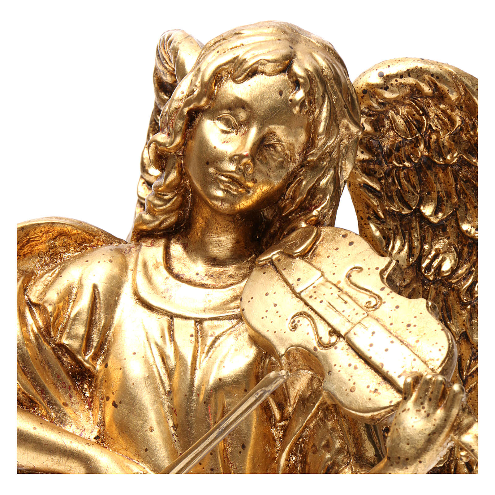 Standing angel 35 cm in gold leaf hand painted 3
