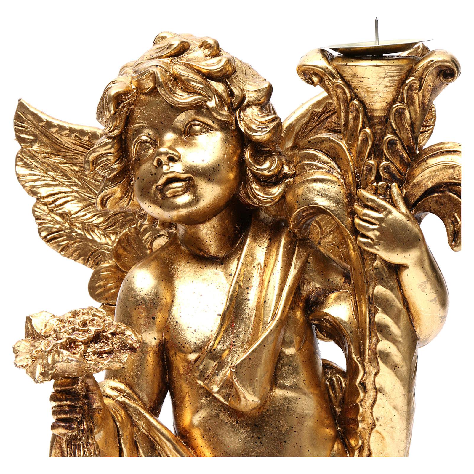 Angelo portacandele Oro foglia 45 cm 3