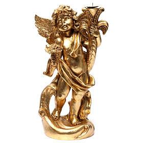 Angelo portacandele Oro foglia 45 cm s1