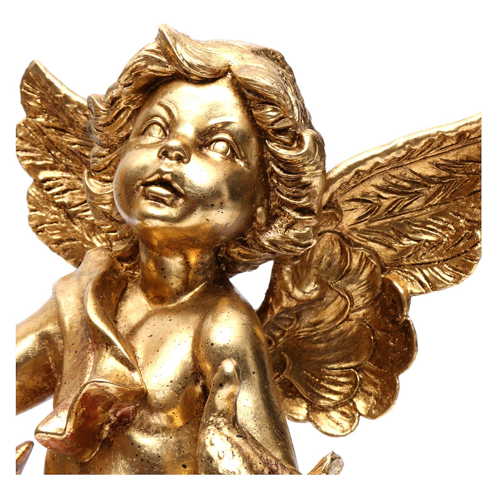 Angelo portacandele oro foglia 45 cm con colomba 3