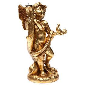 Angelo portacandele oro foglia 45 cm con colomba s4