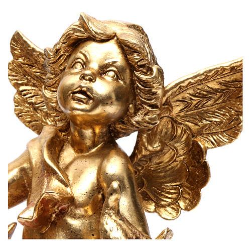 Angelo portacandele oro foglia 45 cm con colomba 2