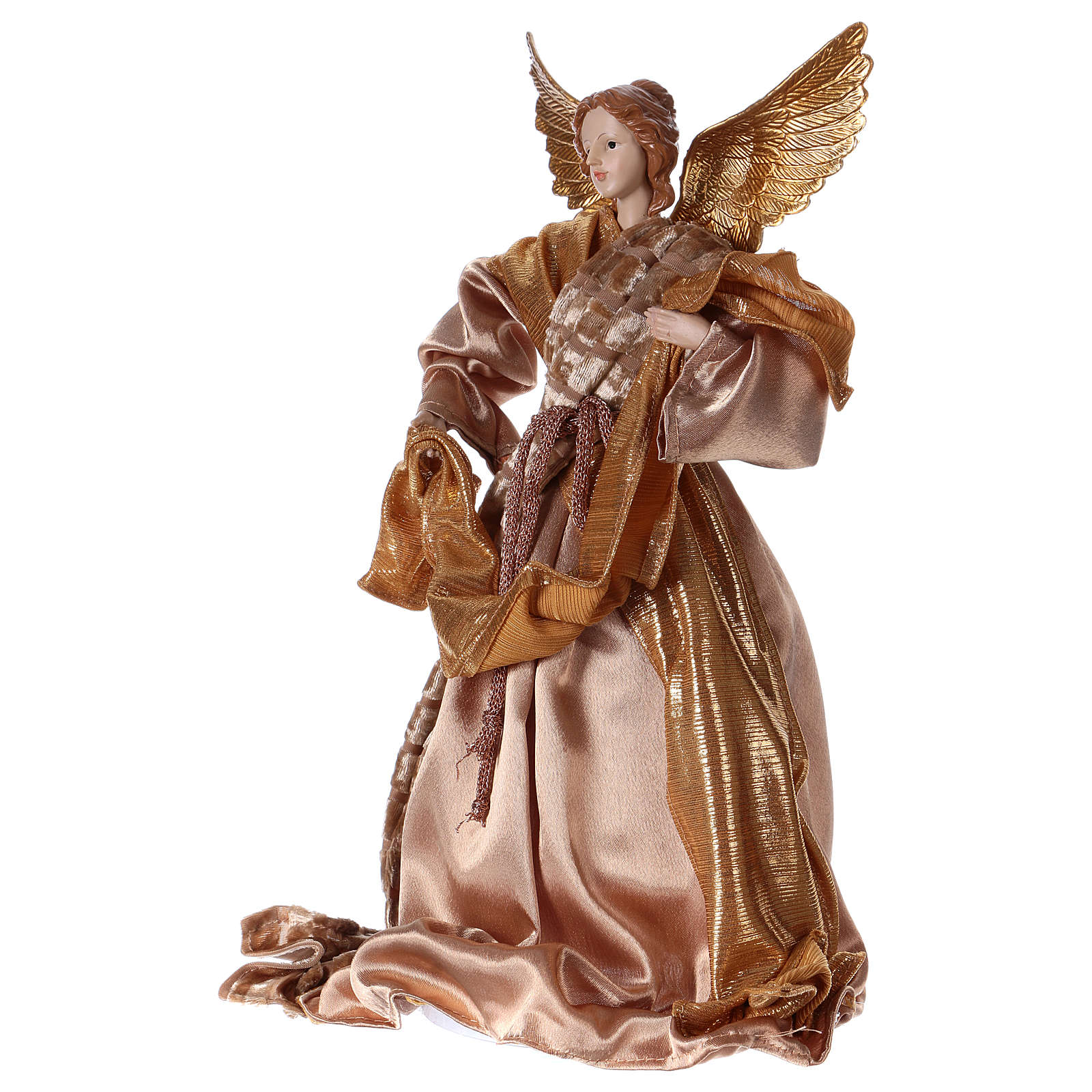 Angel in resin with golden robe 35 cm 3