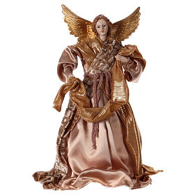 Angel in resin with golden robe 35 cm s1