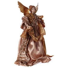 Angel in resin with golden robe 35 cm s4