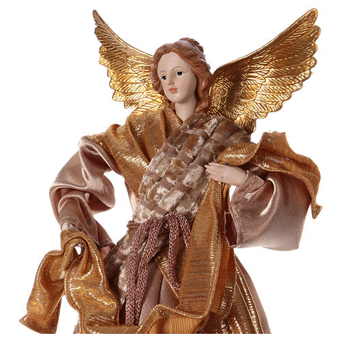 Angel in resin with golden robe 35 cm 2